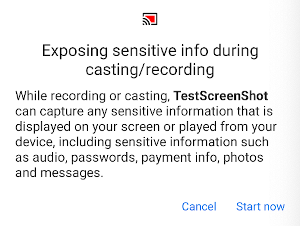 warning screenshot - [Android] Android アプリからScreenShotを撮る